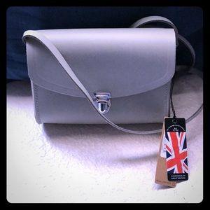 NWT Gen Leather Gray Push Lock Cross Body Bag